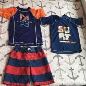2 swim shirts and bathing suit size 4-5 $10 all